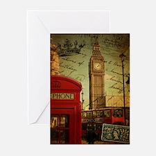 vintage London UK fashion Greeting Cards