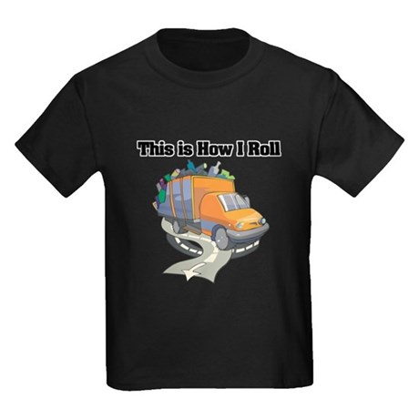 How I Roll (Garbage Truck) Kids Dark T-Shirt