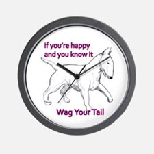 bull terrier wag your tail Wall Clock