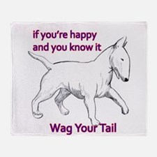 bull terrier wag your tail Throw Blanket