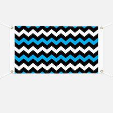 Black Blue And White Chevron Banner