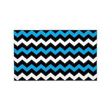 Black Blue And White Chevron 3'x5' Area Rug