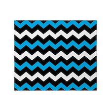 Black Blue And White Chevron Throw Blanket