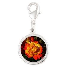 Summer Rose Silver Round Charm