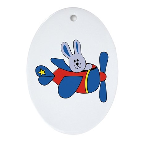 Aviator Bunny Oval Ornament