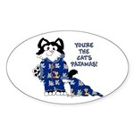 Cartoon cat Oval Sticker