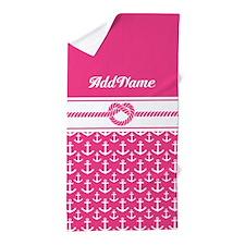 Custom Pink Anchors Rope Beach Towel