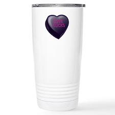 Love Sucks Candy Heart Travel Coffee Mug