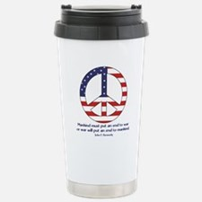 Peace Sign With JFK Quote Travel Mug
