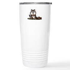 Chipmunk with stash of Acorns (htxt) Travel Mug