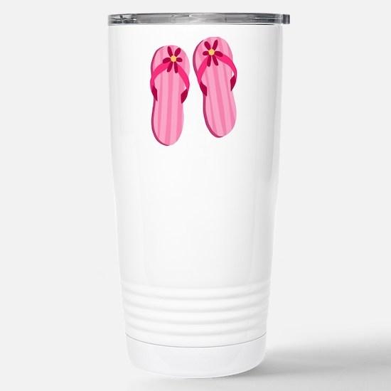 Pink Flip Flops Stainless Steel Travel Mug