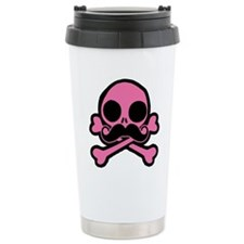 Pink Skull With Moustache Travel Mug