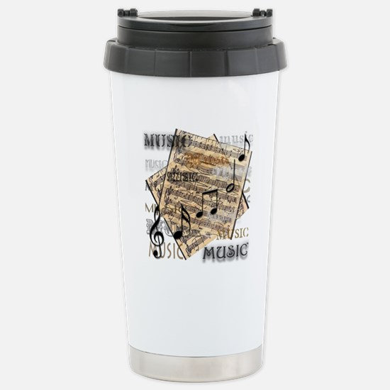 Vintage Music Stainless Steel Travel Mug