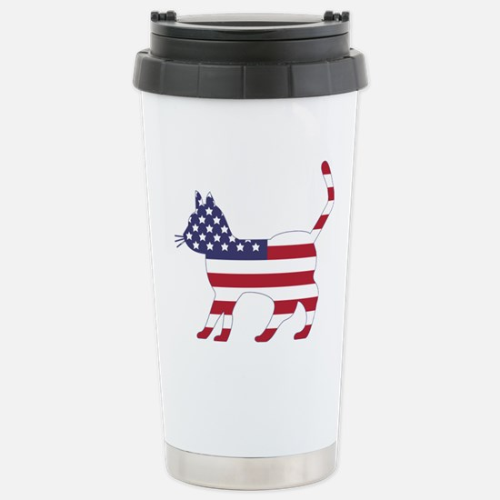 US Flag Cat Icon Stainless Steel Travel Mug