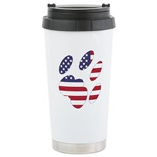 US Flag Cat Paw Travel Mug