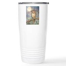 Brown Spotted Owl Watercolor Art Travel Mug