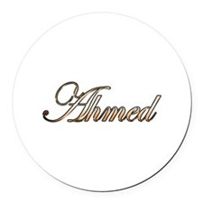 Gold Ahmed Round Car Magnet