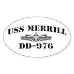 USS MERRILL Sticker (Oval)