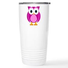 Cute Pink Cartoon Owl Travel Mug