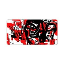 Abstract Red and Black Face Aluminum License Plate