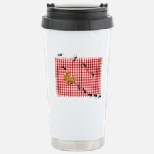 Ant Picnic on Red Checkered Cloth Travel Mug
