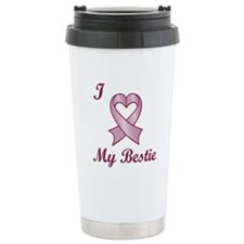I Love My Bestie - Breast Cancer Heart Ribbon Stai