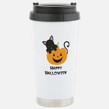 Happy Halloween Cat Stainless Steel Travel Mug