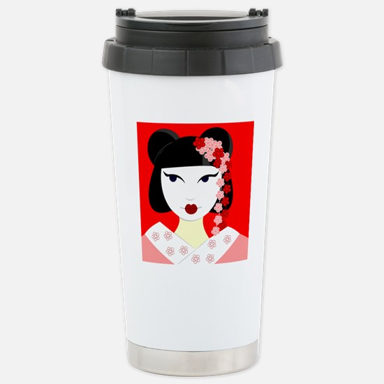 Cute Geisha Girl Red with Pink Flowers Stainless S