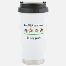 55 dog years birthday 1 Stainless Steel Travel Mug