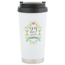 25th Anniversary flowers and hearts Travel Mug
