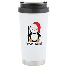 Personalized Christmas Clarinet Penguin Thermos Mug
