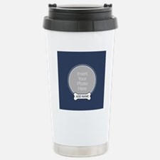 Dog Bone Pet Photo Blue Travel Mug