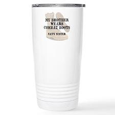 Navy Sister Brother wears DCB Travel Mug