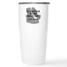 Navy Sister Brother wears CB Travel Mug
