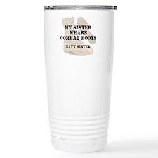 Navy Sister wears DCB Travel Mug
