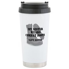 Navy Sister wears CB Travel Mug