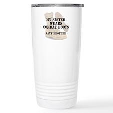 Navy Brother Sister wears DCB Travel Mug