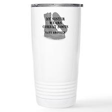 Navy Brother Sister wears CB Travel Mug