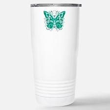 Ovarian-Cancer-Butterfl Stainless Steel Travel Mug