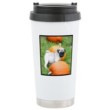 Pug in pumpkins b Travel Mug