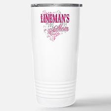 linemans mom black shir Stainless Steel Travel Mug