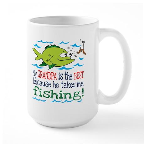 My Grandpa Takes Me Fishing Large Mug