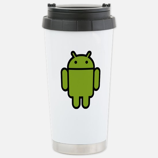 Android-Stroked-Black-N Stainless Steel Travel Mug