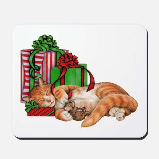 Cute Cat, Mouse And Christmas Presents Mousepad