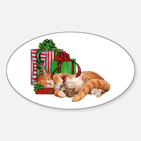 Cute Cat, Mouse And Christmas Presents Decal