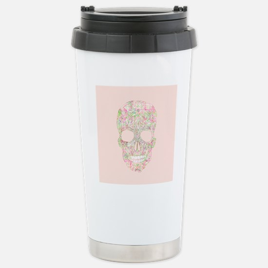 Girly Pink Floral Paisl Stainless Steel Travel Mug