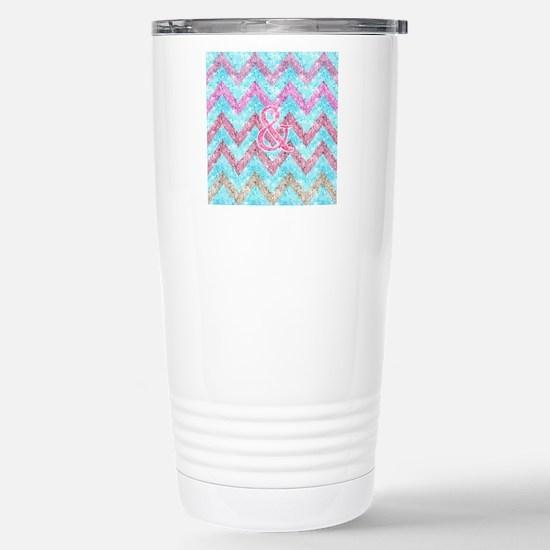 Pink Glitter Ampersand  Stainless Steel Travel Mug