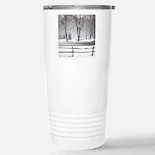 Winter Pond and Road To Travel Mug