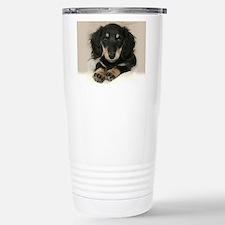long hair black doxie 1 Travel Mug