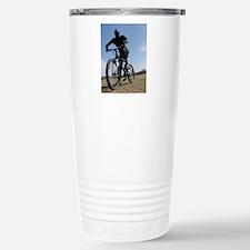 Black Zentai Bike Rider Stainless Steel Travel Mug
